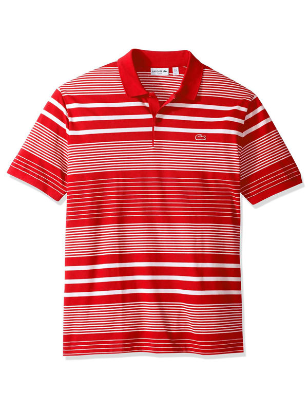 Lacoste Mens Red Slim Fit Polo Shirt